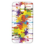 Crazy Multicolored Double Running Splashes Samsung Galaxy S5 Back Case (White) Front