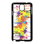 Crazy Multicolored Double Running Splashes Samsung Galaxy Note 3 Neo Hardshell Case (Black) Front