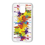Crazy Multicolored Double Running Splashes Samsung Galaxy S5 Case (White) Front