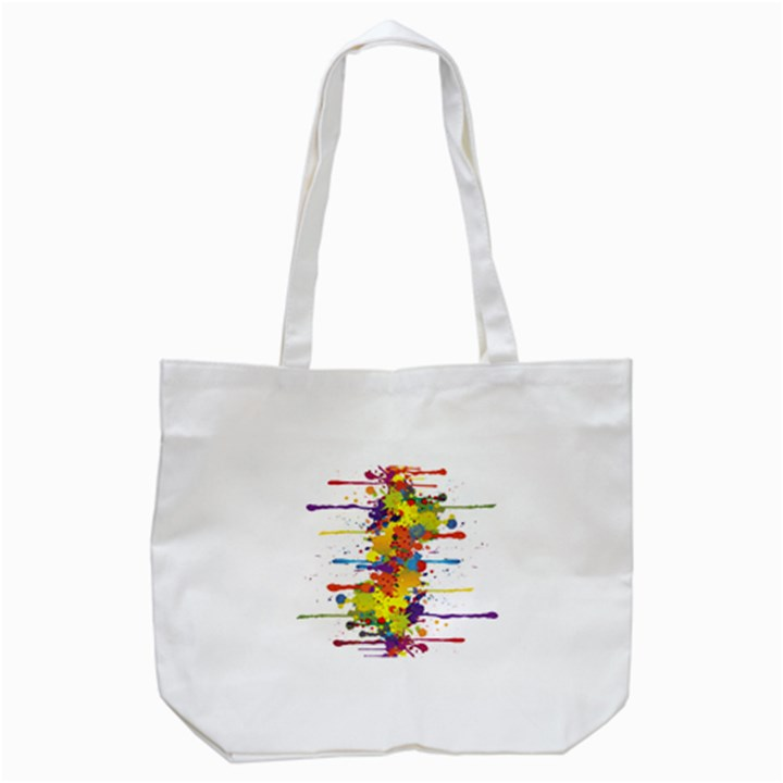 Crazy Multicolored Double Running Splashes Tote Bag (White)
