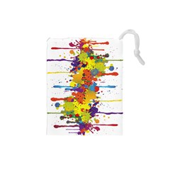 Crazy Multicolored Double Running Splashes Drawstring Pouches (Small)