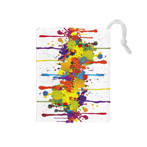 Crazy Multicolored Double Running Splashes Drawstring Pouches (Medium)