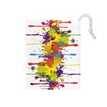 Crazy Multicolored Double Running Splashes Drawstring Pouches (Medium)  Front