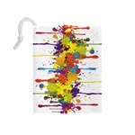 Crazy Multicolored Double Running Splashes Drawstring Pouches (Medium)  Back
