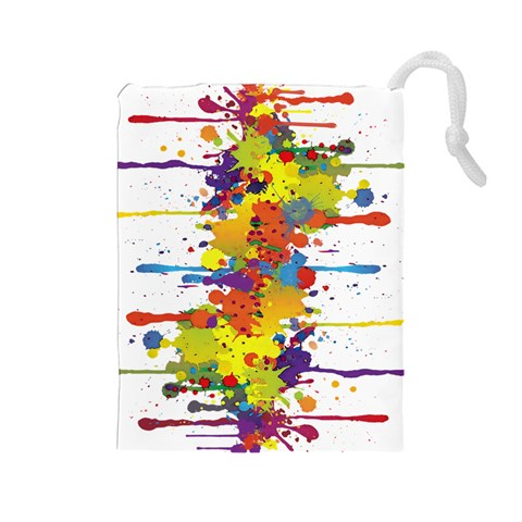 Crazy Multicolored Double Running Splashes Drawstring Pouches (Large)