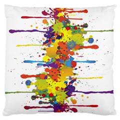 Crazy Multicolored Double Running Splashes Large Flano Cushion Case (One Side)