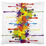 Crazy Multicolored Double Running Splashes Large Flano Cushion Case (One Side) Front