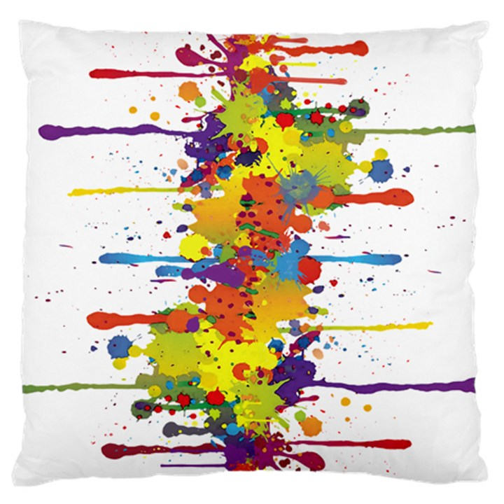 Crazy Multicolored Double Running Splashes Large Flano Cushion Case (Two Sides)