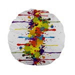 Crazy Multicolored Double Running Splashes Standard 15  Premium Flano Round Cushions Back