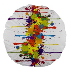 Crazy Multicolored Double Running Splashes Large 18  Premium Flano Round Cushions
