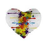 Crazy Multicolored Double Running Splashes Standard 16  Premium Flano Heart Shape Cushions Front
