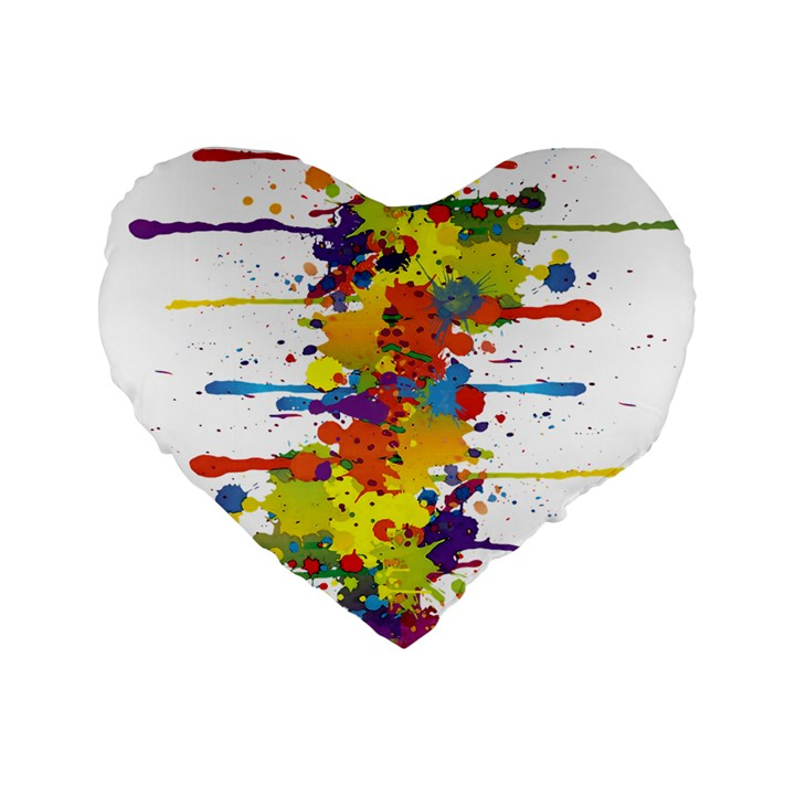 Crazy Multicolored Double Running Splashes Standard 16  Premium Flano Heart Shape Cushions