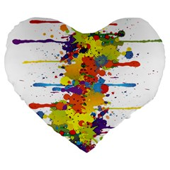 Crazy Multicolored Double Running Splashes Large 19  Premium Flano Heart Shape Cushions
