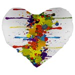 Crazy Multicolored Double Running Splashes Large 19  Premium Flano Heart Shape Cushions Back