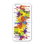 Crazy Multicolored Double Running Splashes Apple iPhone 6/6S White Enamel Case Front