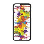Crazy Multicolored Double Running Splashes Apple iPhone 6/6S Black Enamel Case Front