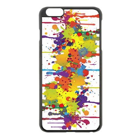 Crazy Multicolored Double Running Splashes Apple iPhone 6 Plus/6S Plus Black Enamel Case