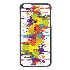 Crazy Multicolored Double Running Splashes Apple iPhone 6 Plus/6S Plus Black Enamel Case