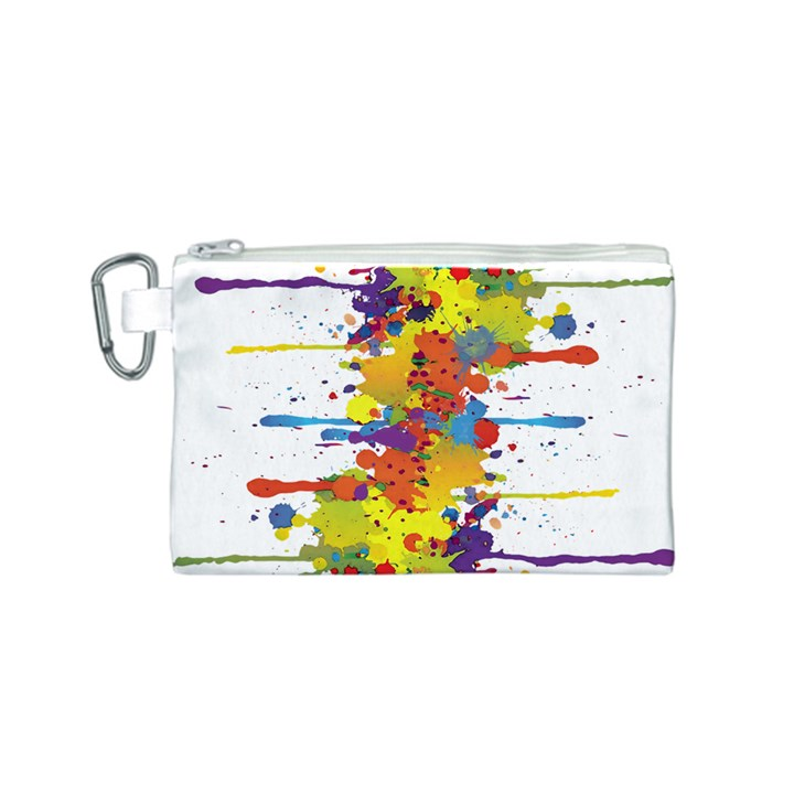 Crazy Multicolored Double Running Splashes Canvas Cosmetic Bag (S)