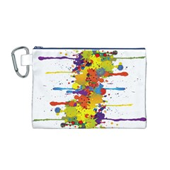 Crazy Multicolored Double Running Splashes Canvas Cosmetic Bag (M)