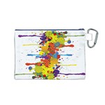 Crazy Multicolored Double Running Splashes Canvas Cosmetic Bag (M) Back