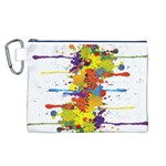 Crazy Multicolored Double Running Splashes Canvas Cosmetic Bag (L) Front
