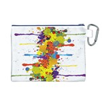 Crazy Multicolored Double Running Splashes Canvas Cosmetic Bag (L) Back