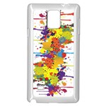 Crazy Multicolored Double Running Splashes Samsung Galaxy Note 4 Case (White) Front