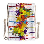 Crazy Multicolored Double Running Splashes Drawstring Bag (Large) Back