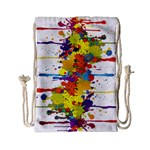 Crazy Multicolored Double Running Splashes Drawstring Bag (Small) Front