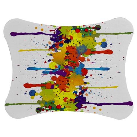 Crazy Multicolored Double Running Splashes Jigsaw Puzzle Photo Stand (Bow)