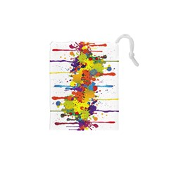 Crazy Multicolored Double Running Splashes Drawstring Pouches (XS)