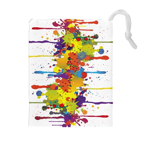 Crazy Multicolored Double Running Splashes Drawstring Pouches (Extra Large)
