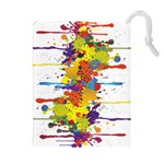 Crazy Multicolored Double Running Splashes Drawstring Pouches (Extra Large) Front