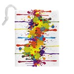 Crazy Multicolored Double Running Splashes Drawstring Pouches (Extra Large) Back