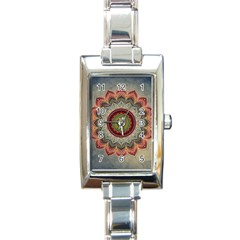 Folk Art Lotus Mandala Dirty Blue Red Rectangle Italian Charm Watch