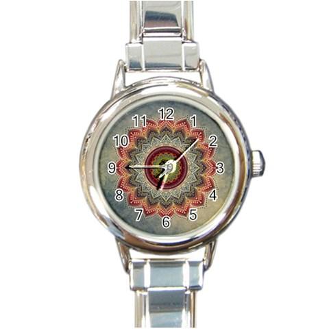 Folk Art Lotus Mandala Dirty Blue Red Round Italian Charm Watch