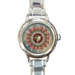 Folk Art Lotus Mandala Dirty Blue Red Round Italian Charm Watch Front