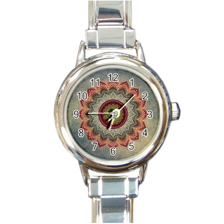 Folk Art Lotus Mandala Dirty Blue Red Round Italian Charm Watch