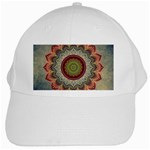 Folk Art Lotus Mandala Dirty Blue Red White Cap Front