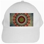 Folk Art Lotus Mandala Dirty Blue Red White Cap Front