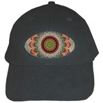 Folk Art Lotus Mandala Dirty Blue Red Black Cap Front