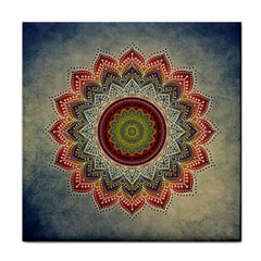 Folk Art Lotus Mandala Dirty Blue Red Tile Coasters