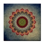 Folk Art Lotus Mandala Dirty Blue Red Tile Coasters Front