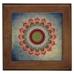 Folk Art Lotus Mandala Dirty Blue Red Framed Tiles