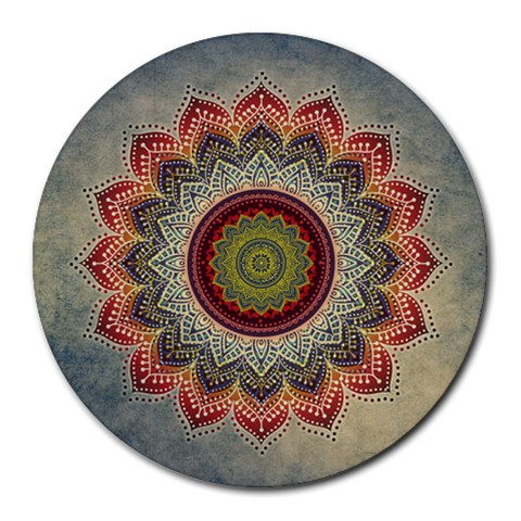 Folk Art Lotus Mandala Dirty Blue Red Round Mousepads