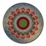 Folk Art Lotus Mandala Dirty Blue Red Round Mousepads Front