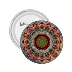 Folk Art Lotus Mandala Dirty Blue Red 2.25  Buttons