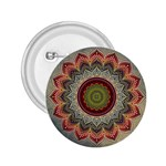 Folk Art Lotus Mandala Dirty Blue Red 2.25  Buttons Front