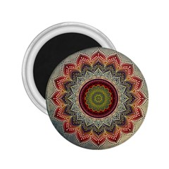 Folk Art Lotus Mandala Dirty Blue Red 2.25  Magnets